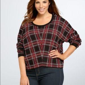 Torrid black & red plaid sweater